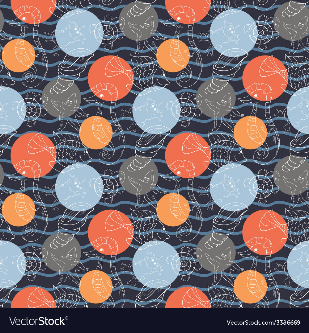 Marine pattern with polka dots vector | Price: 1 Credit (USD $1)