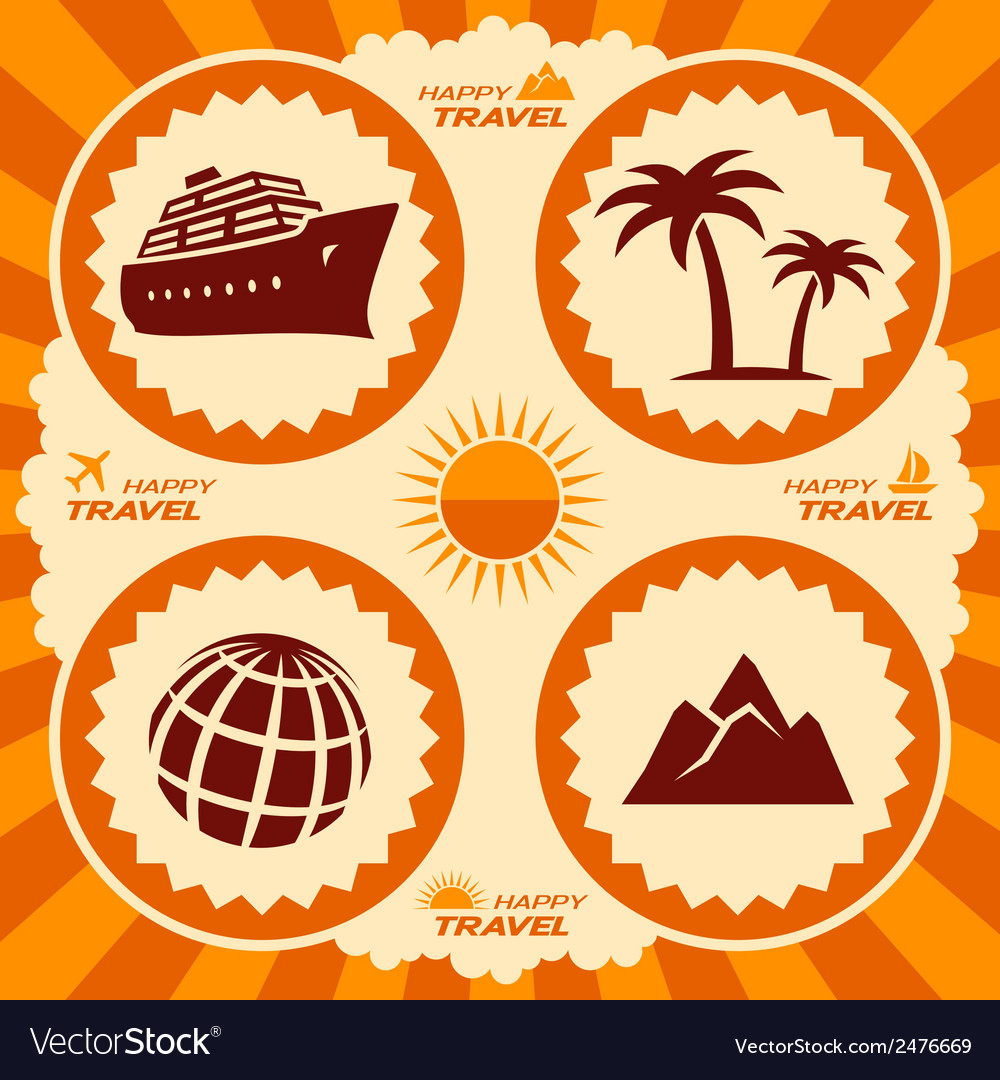 Poster design with travel icons vector | Price: 1 Credit (USD $1)