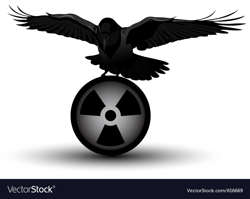 Raven on radiation symbol vector | Price: 1 Credit (USD $1)