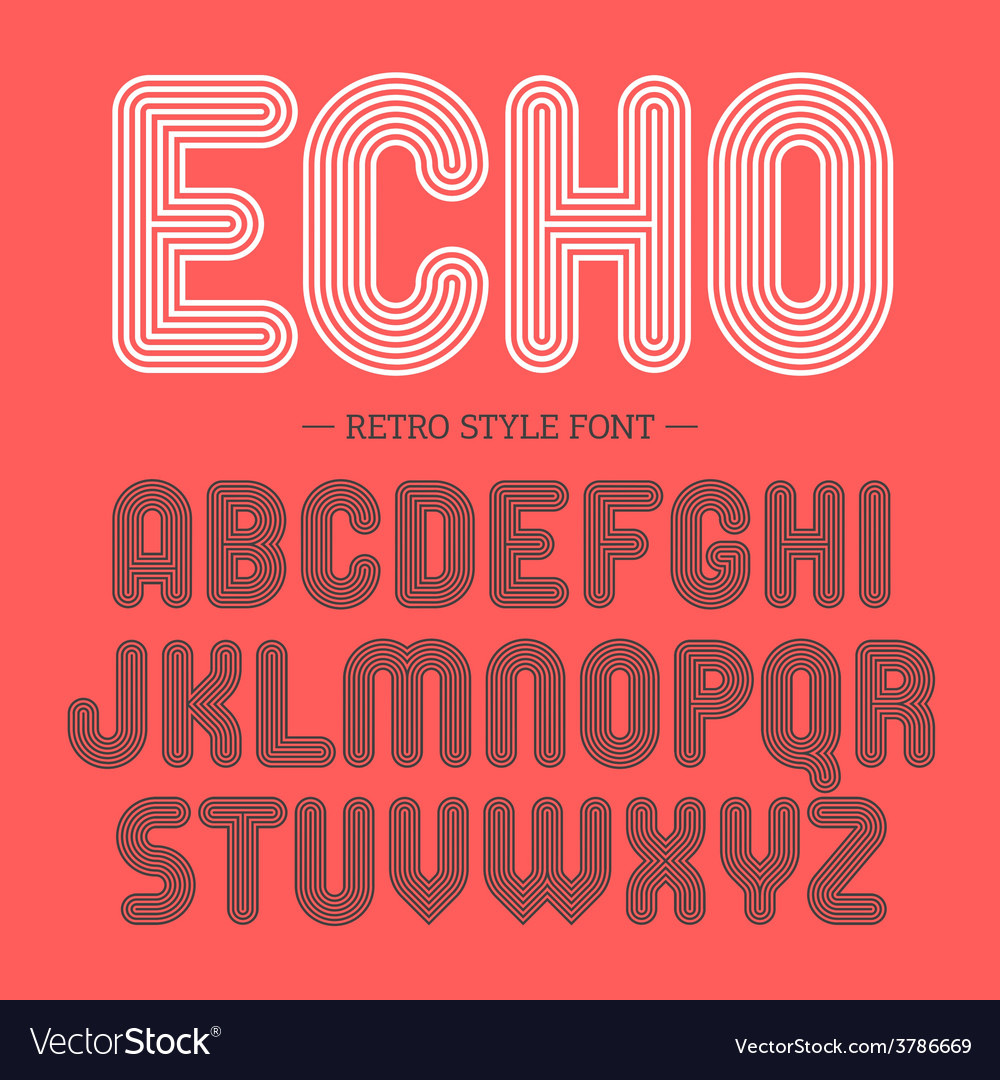 Retro style font alphabet vector | Price: 1 Credit (USD $1)
