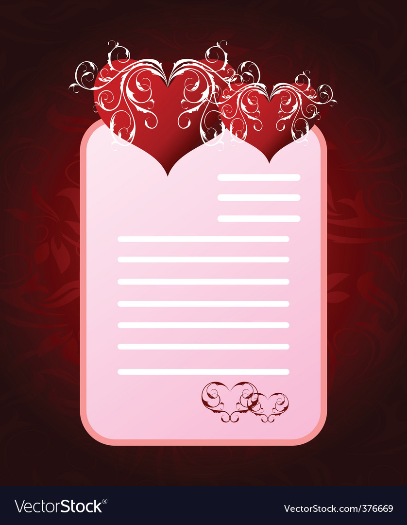 Romantic letter for valentines day vector | Price: 1 Credit (USD $1)