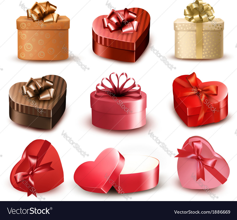 Set of colorful gift heart-shaped boxes with bows vector | Price: 3 Credit (USD $3)
