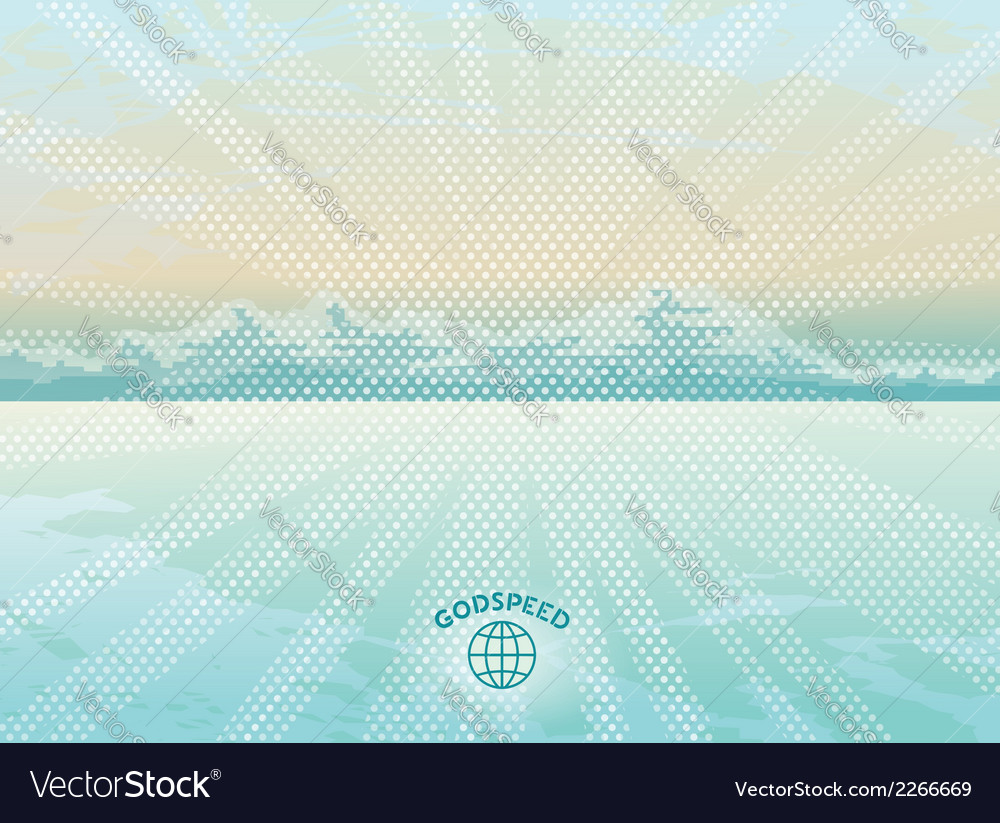 Simple landscape with rocks in background of sea vector | Price: 1 Credit (USD $1)