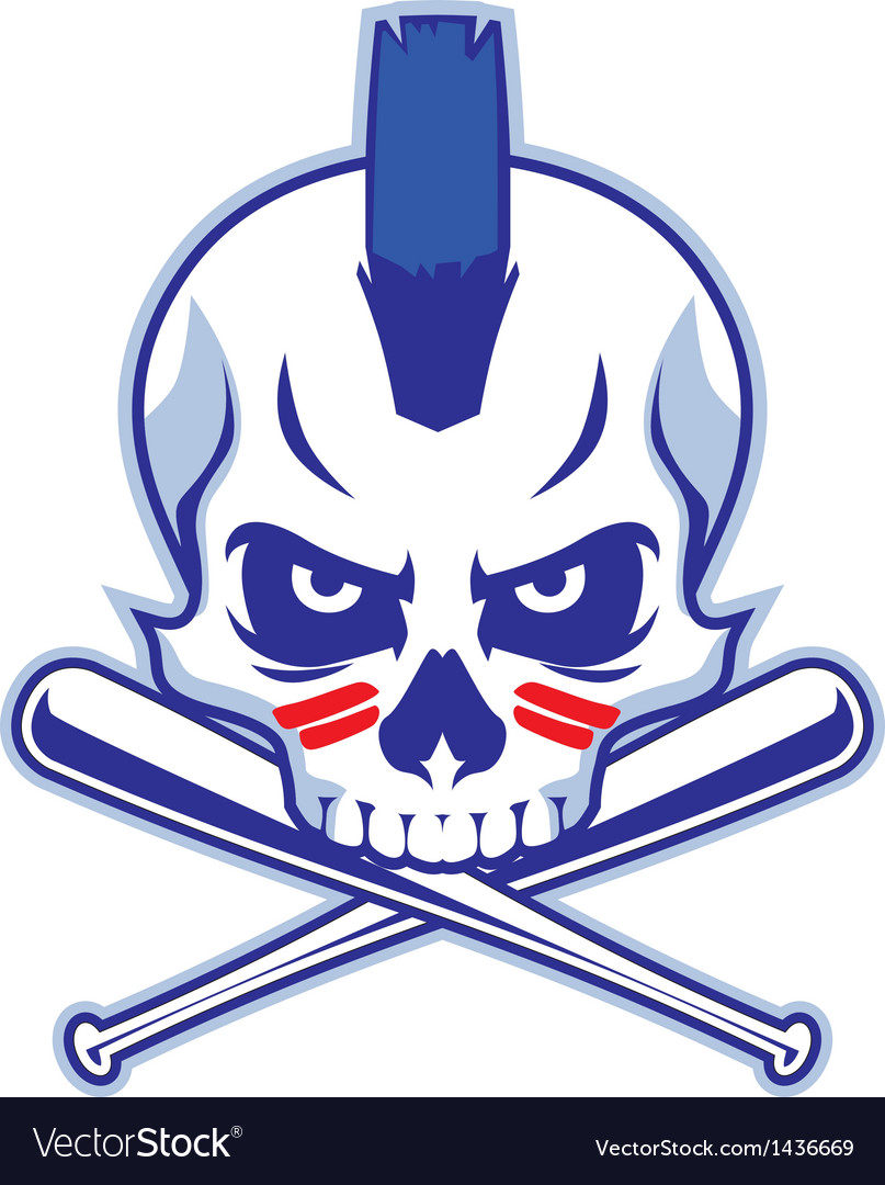 Skull and crossed baseball bat vector | Price: 1 Credit (USD $1)