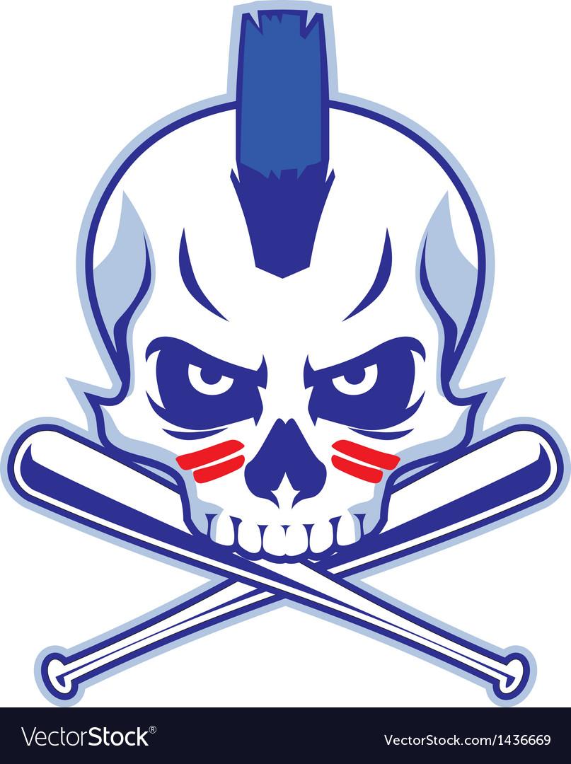 Skull and crossed baseball bat vector