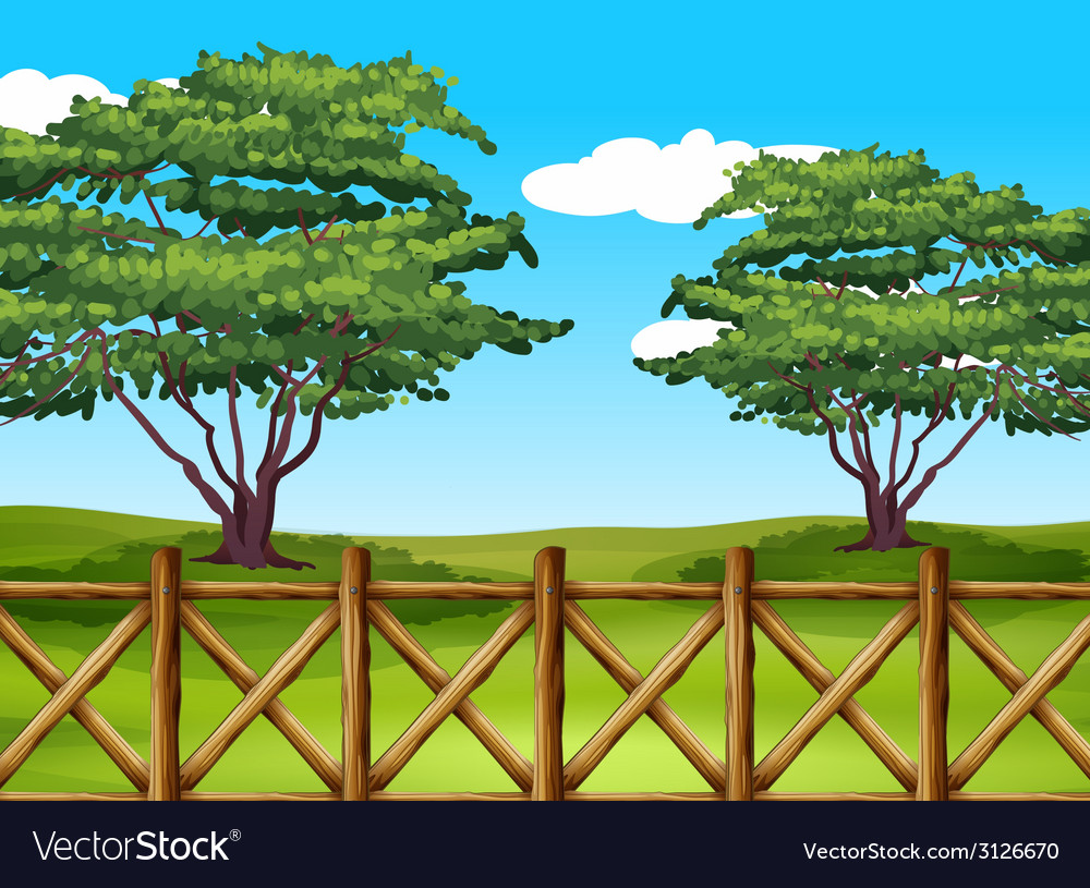 A beautiful landscape with a fence vector | Price: 1 Credit (USD $1)