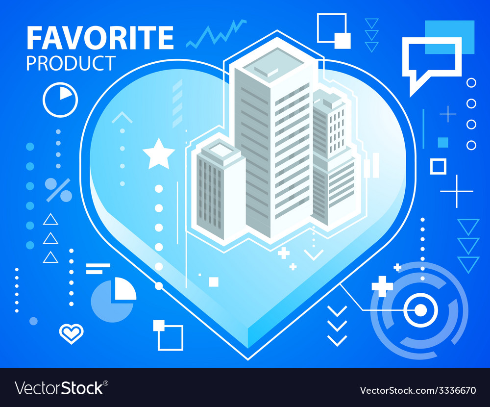 Bright heart and buildings on blue backgroun vector | Price: 3 Credit (USD $3)