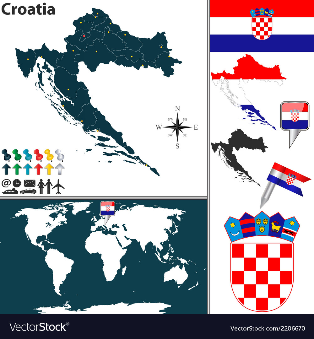 Croatia map world vector | Price: 1 Credit (USD $1)