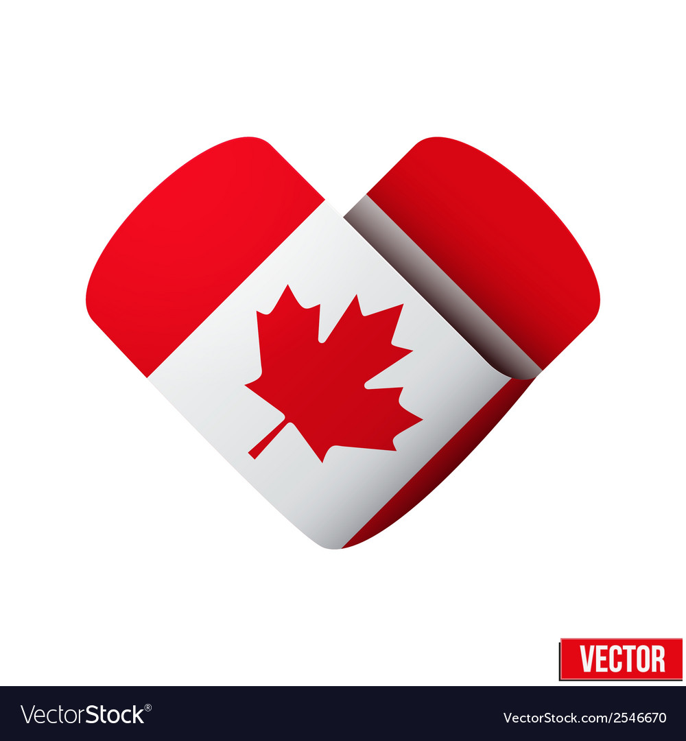Flag icon in the form of heart i love canada vector | Price: 1 Credit (USD $1)