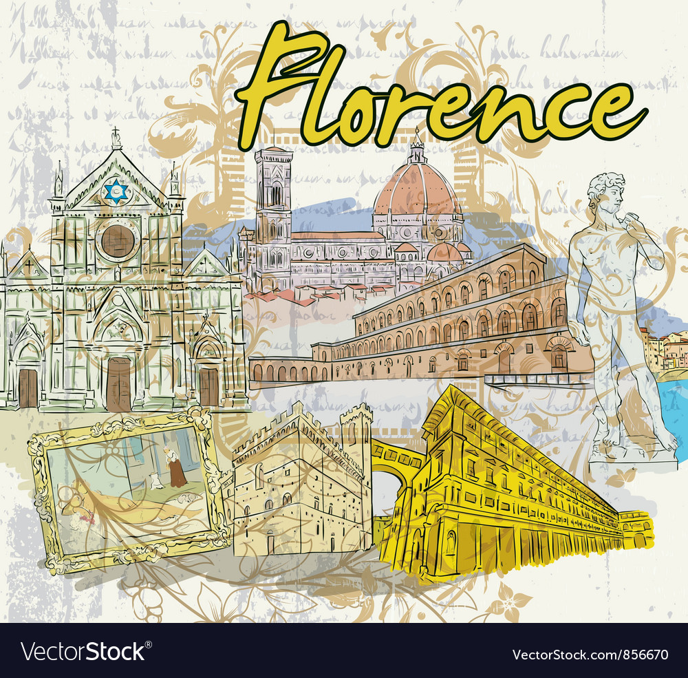 Florence doodles vector | Price: 3 Credit (USD $3)