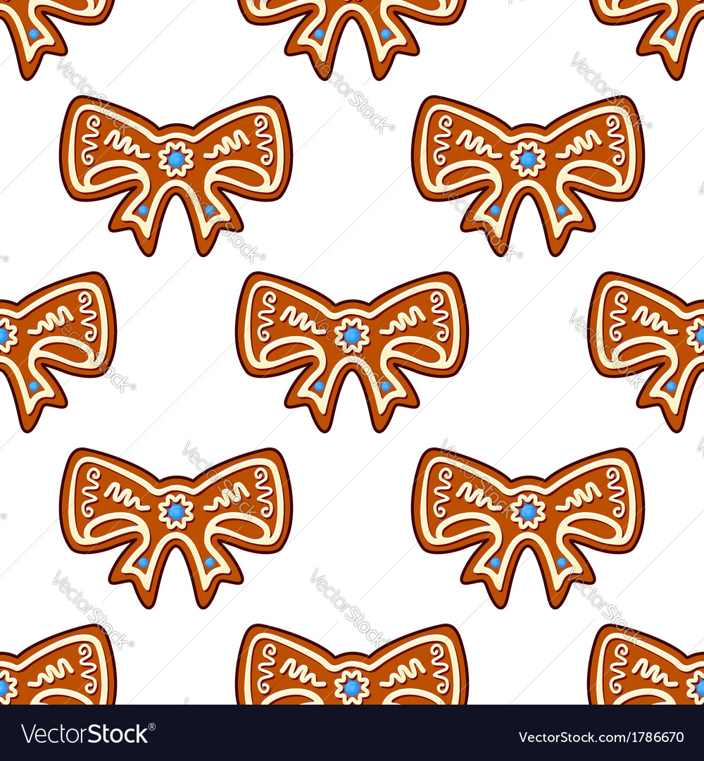 Gingerbread bows seamless background vector | Price: 1 Credit (USD $1)