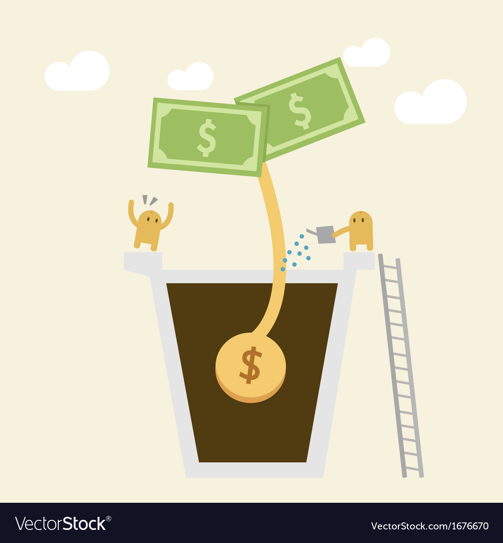 Investment concept watering money vector | Price: 1 Credit (USD $1)
