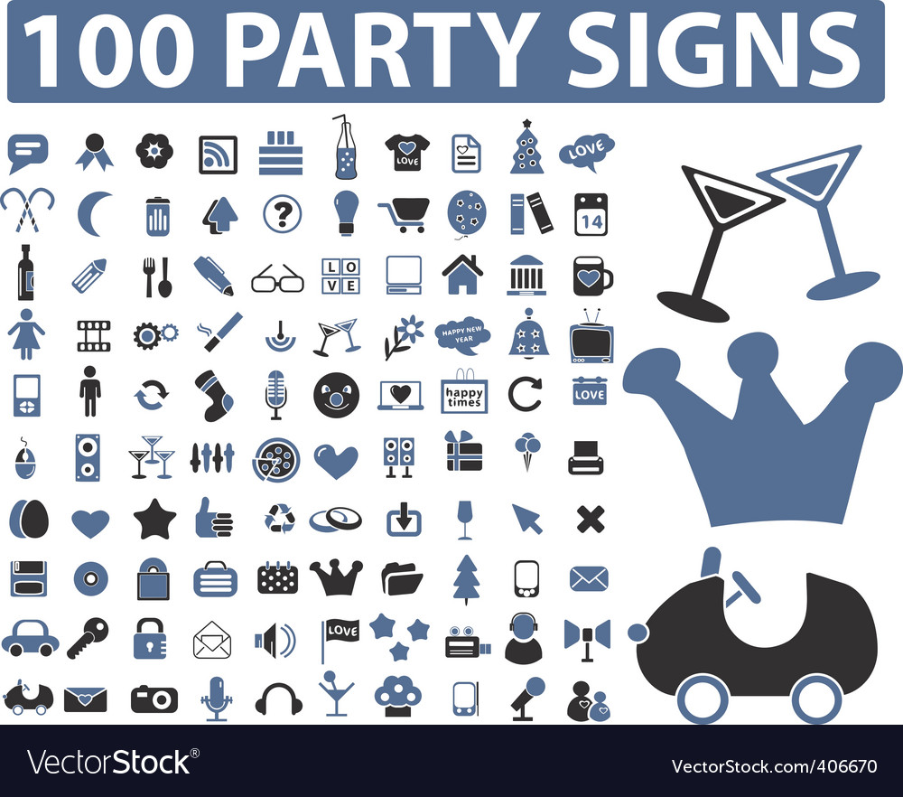 Party signs vector | Price: 1 Credit (USD $1)
