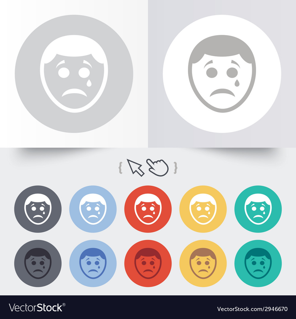 Sad face with tear sign icon crying symbol vector | Price: 1 Credit (USD $1)