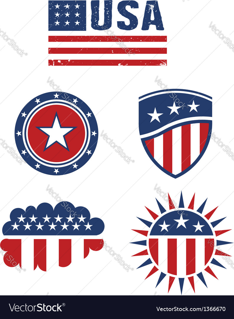 Usa star flag design elements logo vector | Price: 1 Credit (USD $1)