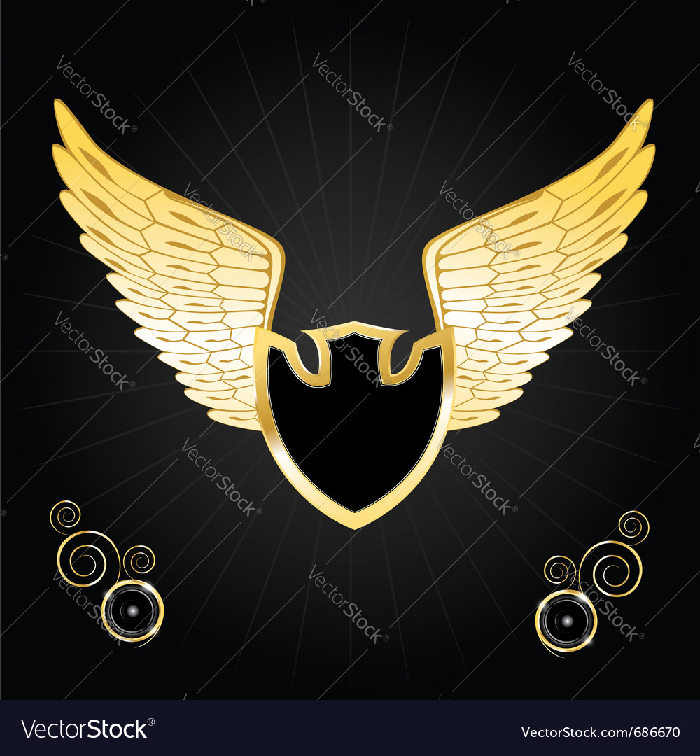 Vintage golden wings vector | Price: 1 Credit (USD $1)