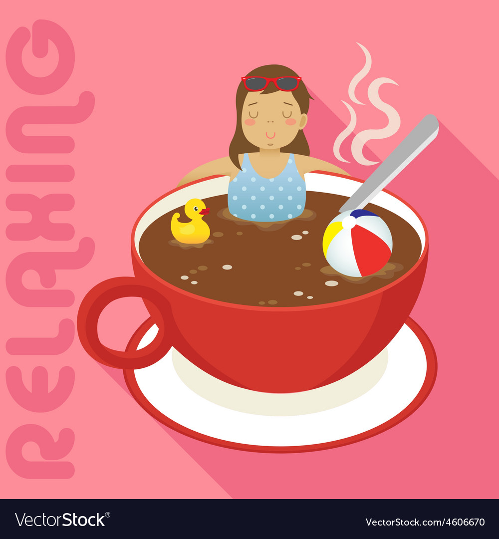Woman in red cup of hot coffee vector   Price: 1 Credit (USD $1)