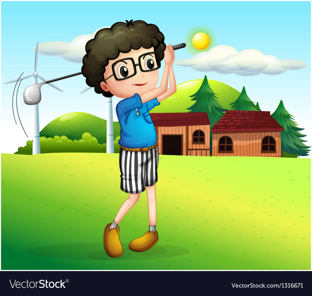 A little boy playing golf vector | Price: 1 Credit (USD $1)