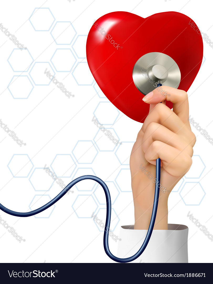 Background with hand holding a stethoscope against vector | Price: 1 Credit (USD $1)
