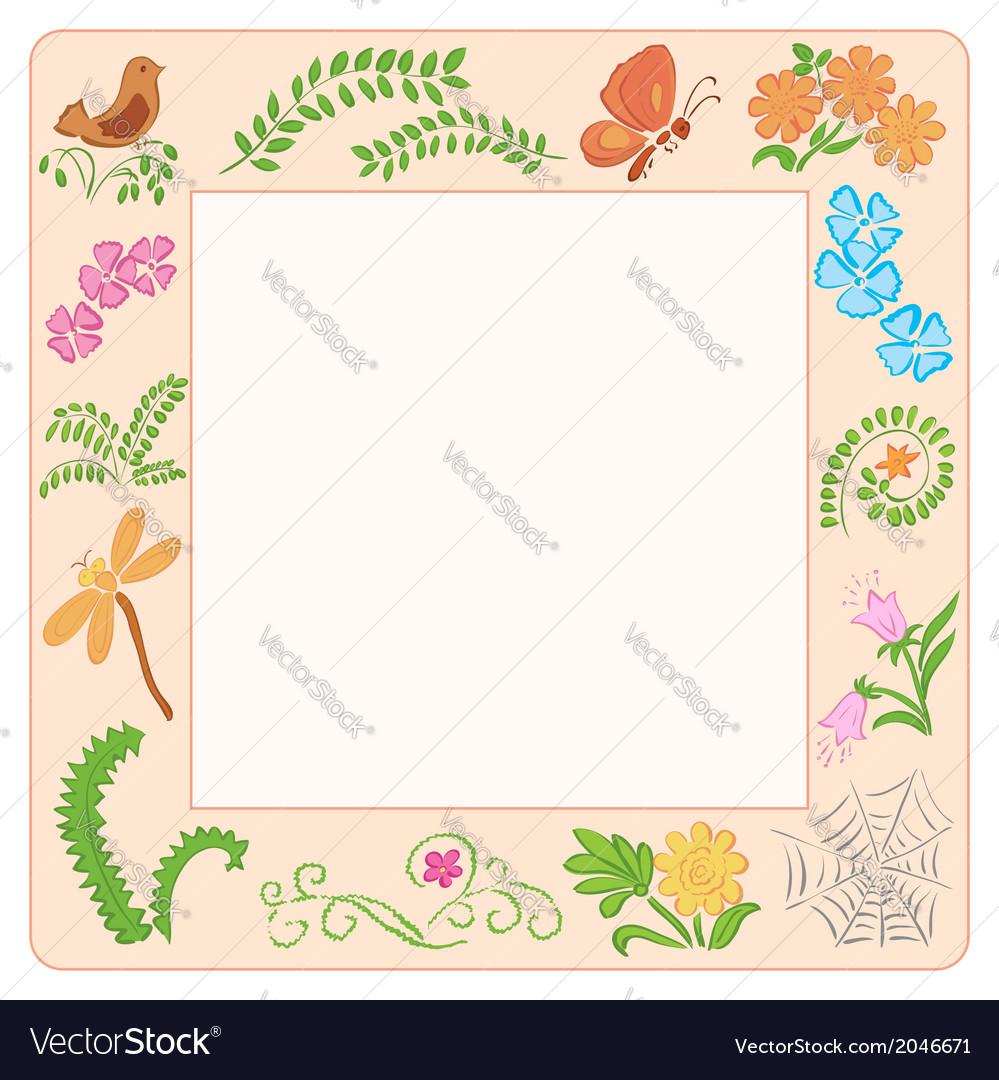 Frame with nature elements vector | Price: 1 Credit (USD $1)