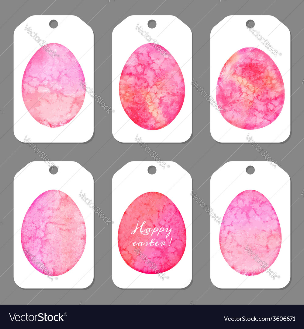 Set of tags for easter watercolor silhouettes eggs vector | Price: 1 Credit (USD $1)