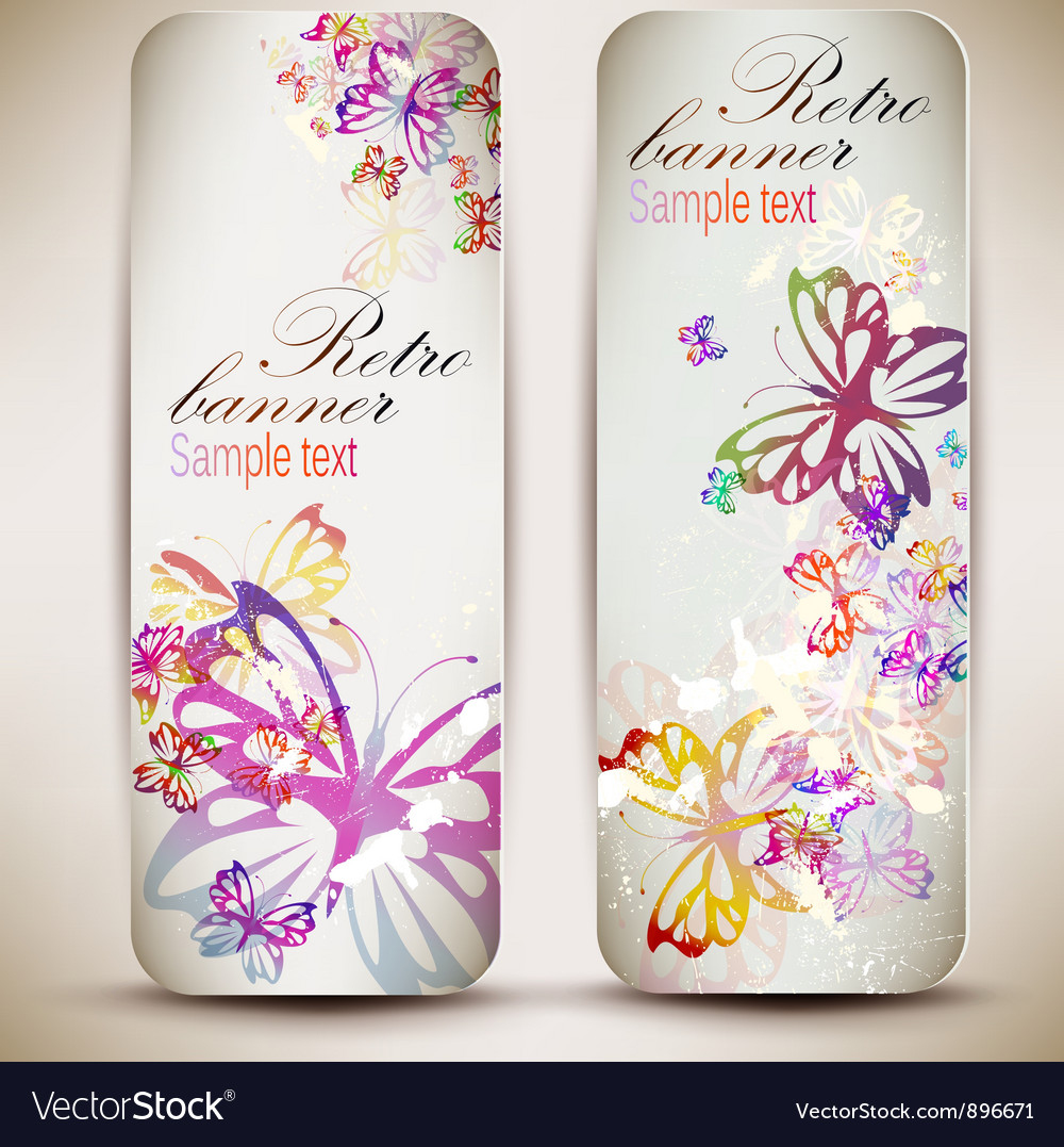 Set of vintage banners with butterfly background vector | Price: 1 Credit (USD $1)