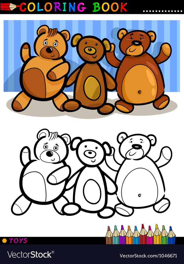 Teddy bears cartoon for coloring vector | Price: 3 Credit (USD $3)