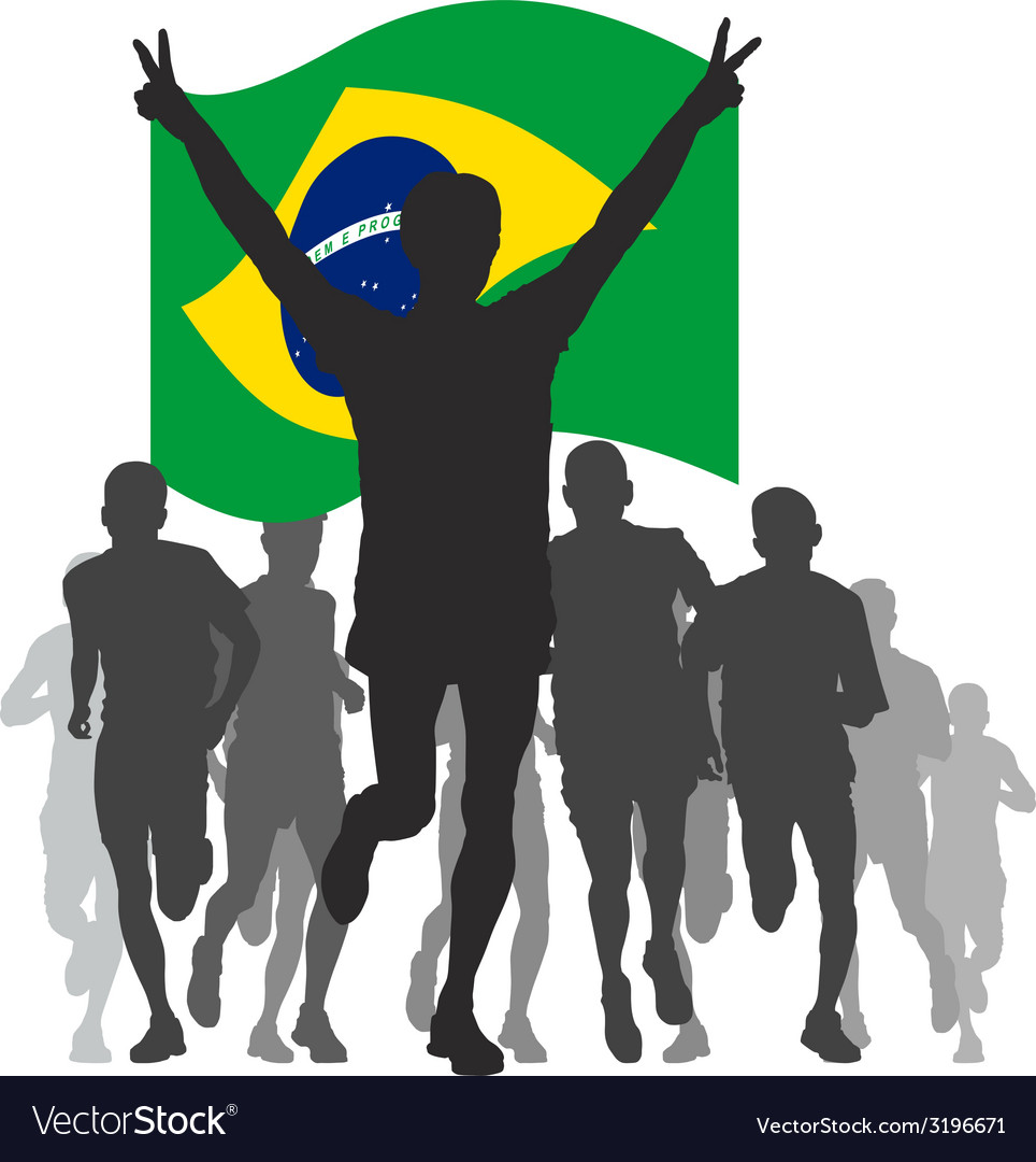 Winner with the brazil flag at the finish vector | Price: 1 Credit (USD $1)