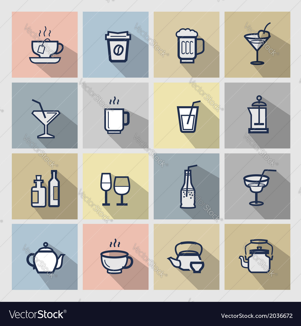 Beverages icons set vector | Price: 1 Credit (USD $1)