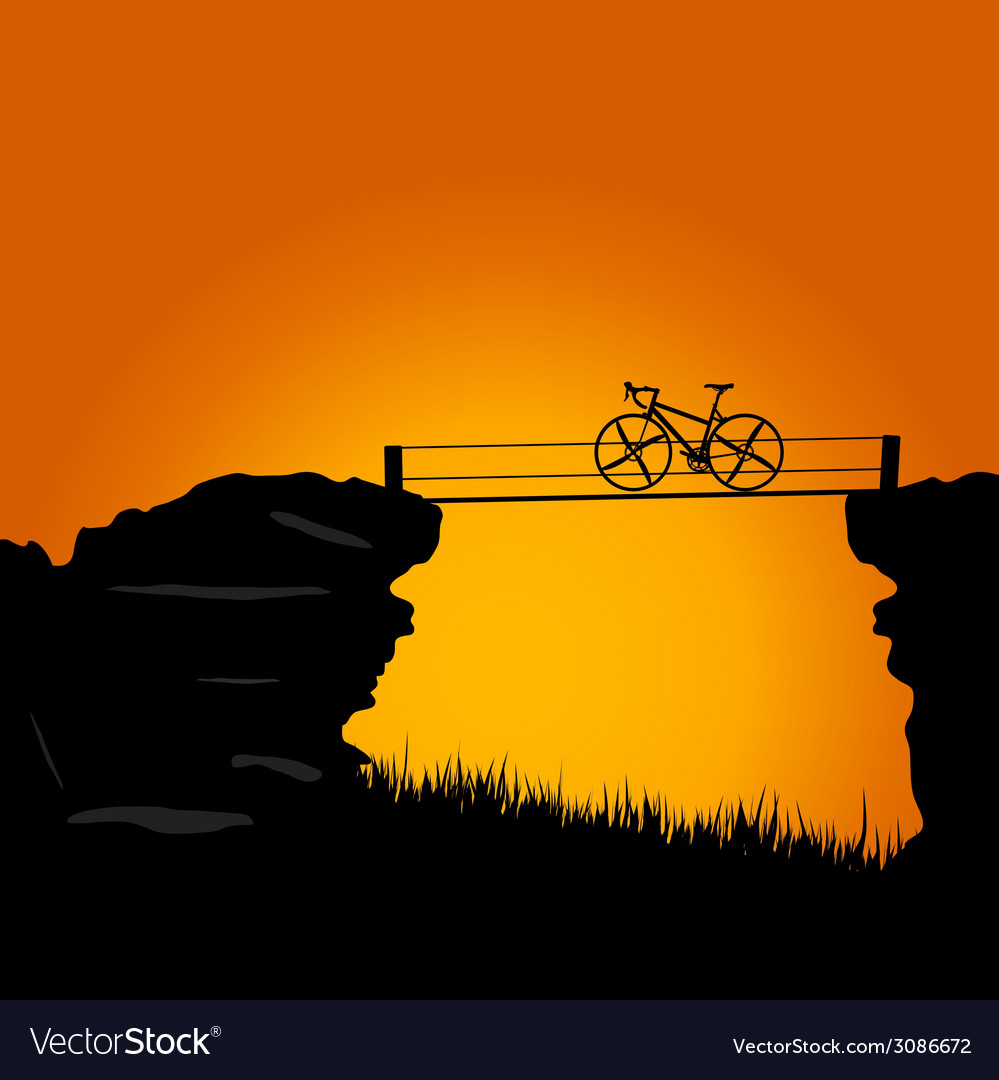 Bike on cliff color vector | Price: 1 Credit (USD $1)