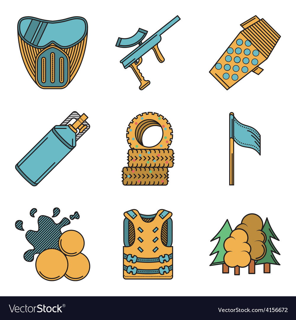 Flat colored icons for paintball vector | Price: 1 Credit (USD $1)