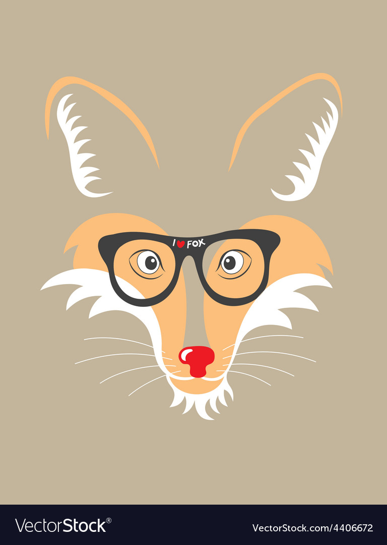 Fox with eyeglass vector | Price: 1 Credit (USD $1)