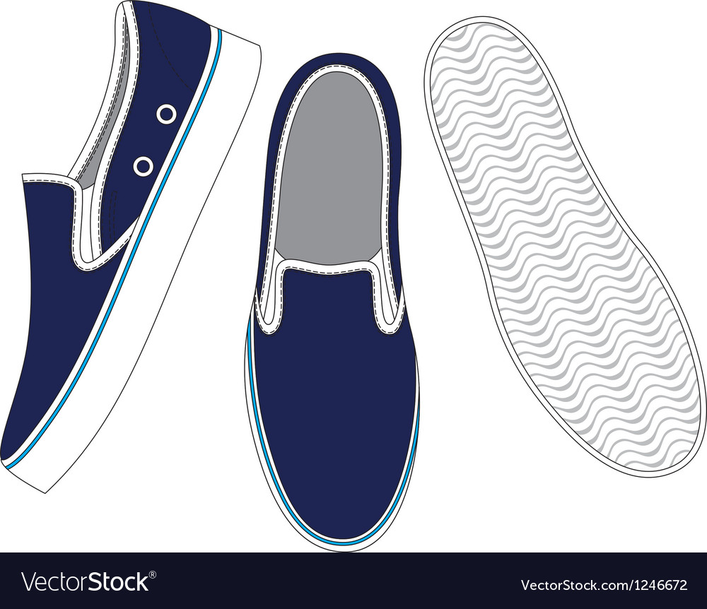 Front back and side views of sneakers vector