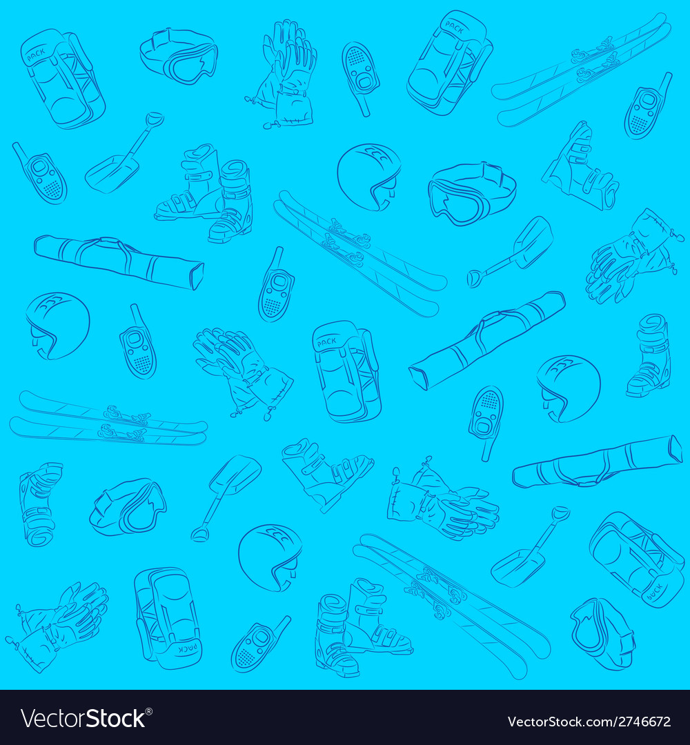 Hand drawn ski seamless pattern vector | Price: 1 Credit (USD $1)