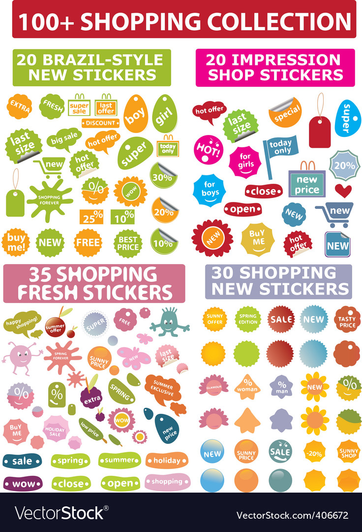 Shopping stickers vector | Price: 1 Credit (USD $1)