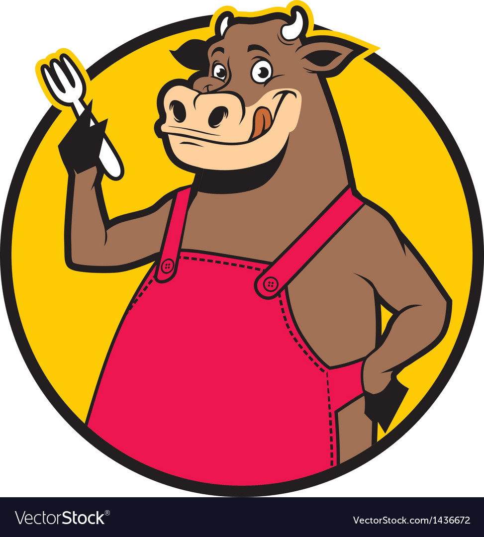 Smiling cow wearing apron vector | Price: 1 Credit (USD $1)