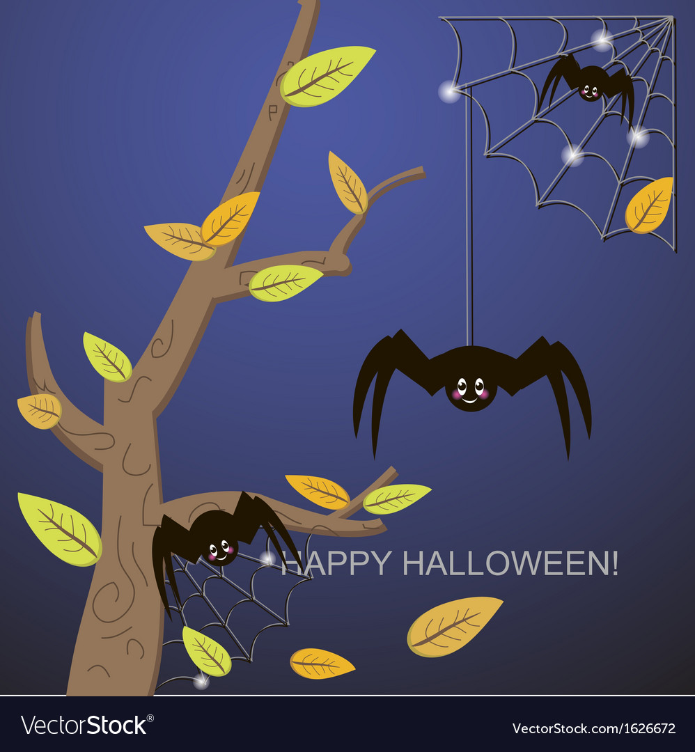 Spiders in the web tree vector | Price: 1 Credit (USD $1)