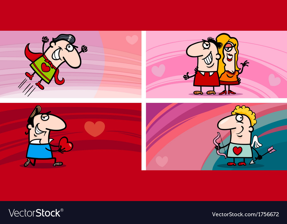 Valentine cartoon greeting cards set vector | Price: 1 Credit (USD $1)