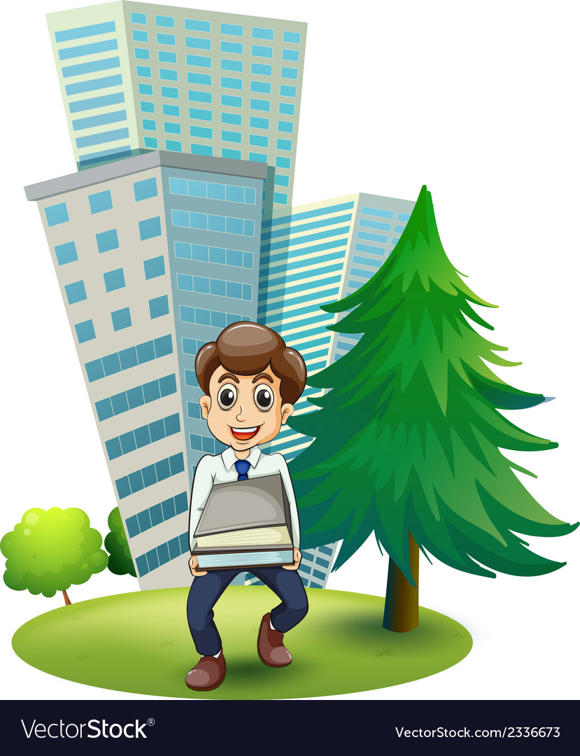 A hardworking man outside the building vector | Price: 3 Credit (USD $3)