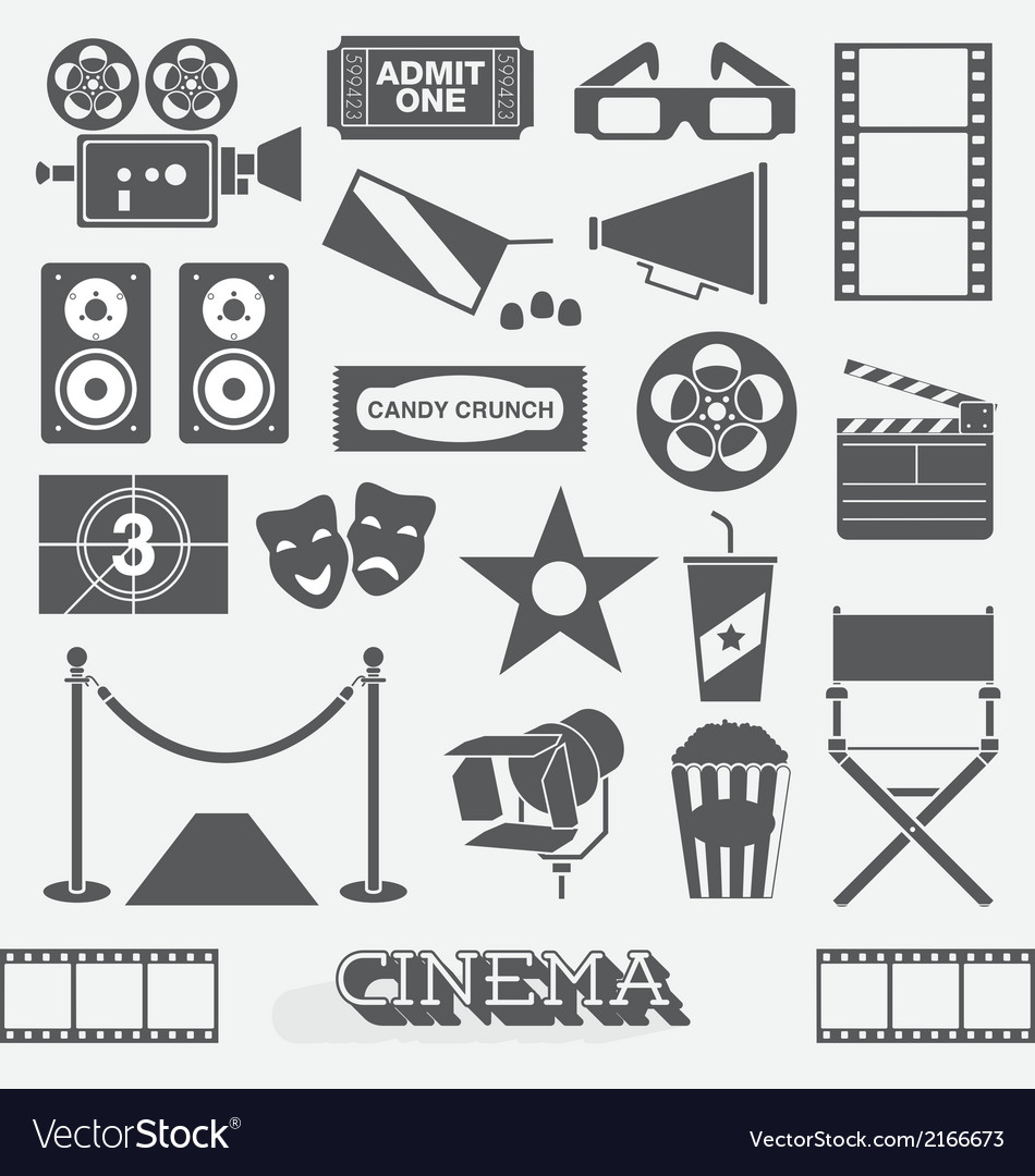 Cinema and movie icons and elements vector | Price: 1 Credit (USD $1)