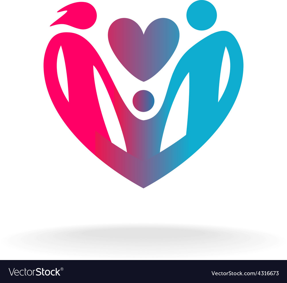 Classical family of three people in a heart shape vector | Price: 1 Credit (USD $1)