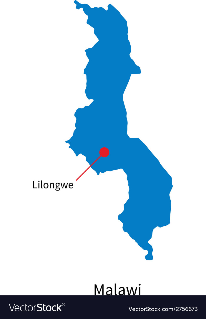 Detailed map of malawi and capital city lilongwe vector | Price: 1 Credit (USD $1)