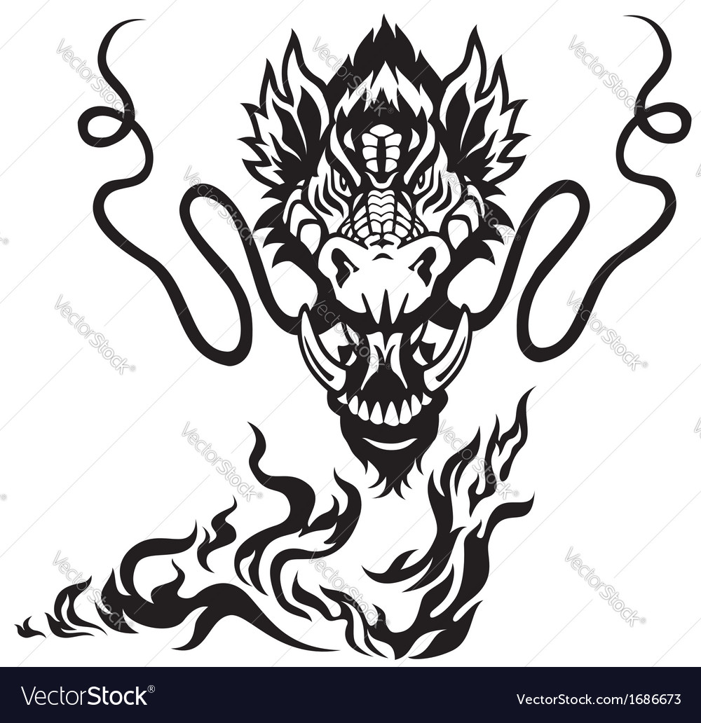 Dragon head black white tattoo vector | Price: 1 Credit (USD $1)