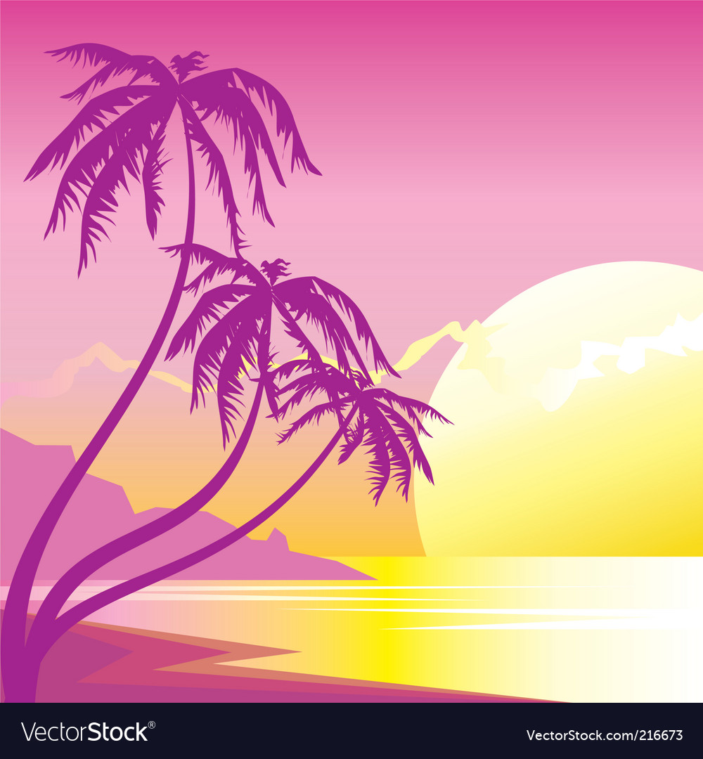 Exotic sunset vector | Price: 1 Credit (USD $1)