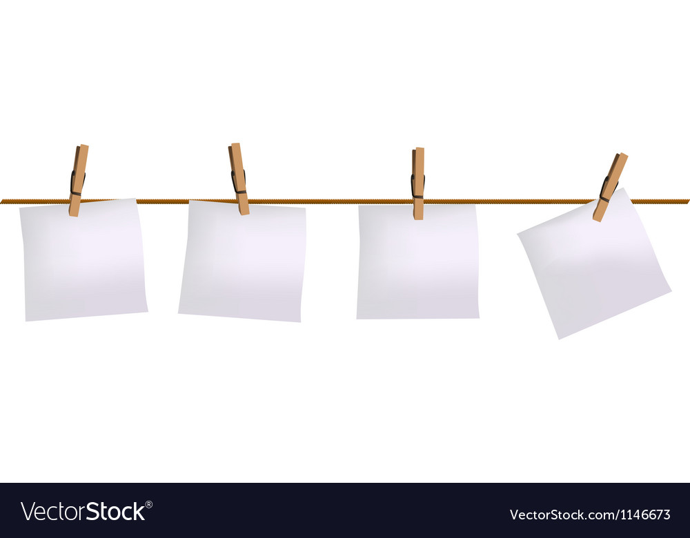 Four paper notes hanging on rope vector | Price: 1 Credit (USD $1)