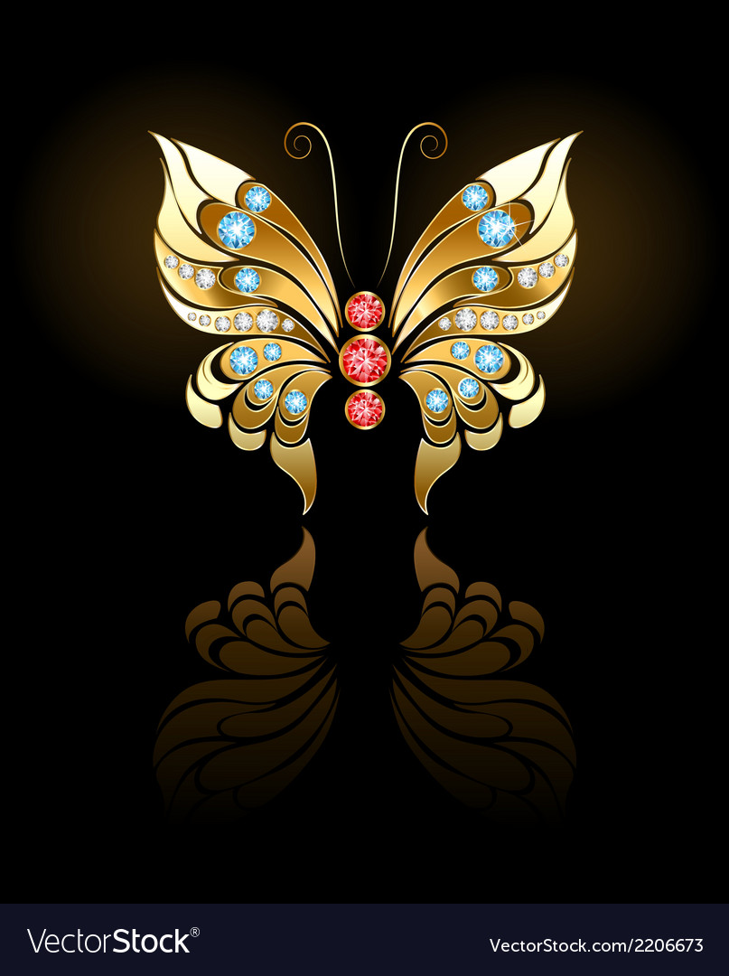 Gold butterfly with gems vector | Price: 1 Credit (USD $1)