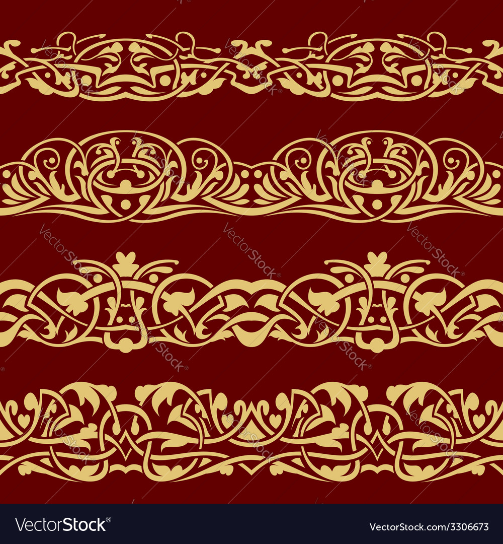 Gold floral seamless border vector   Price: 1 Credit (USD $1)