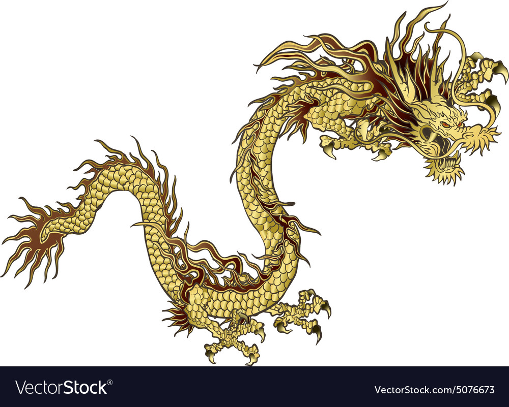 Golden chinese dragon vector