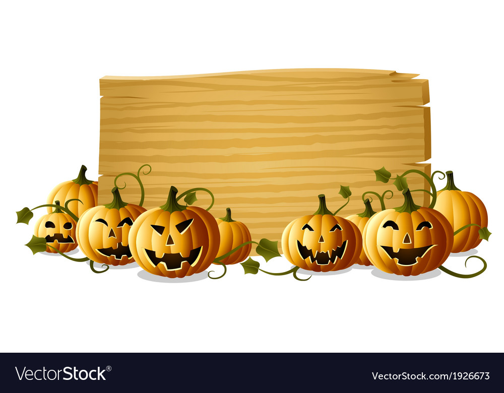 Jack o lantern with sign vector   Price: 1 Credit (USD $1)