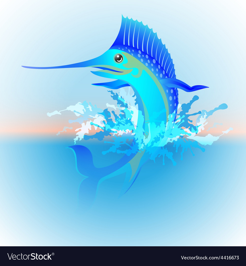 Marlin jumping out of the water vector | Price: 1 Credit (USD $1)